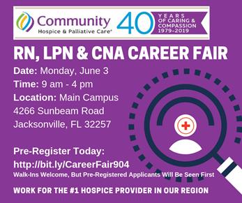 RN  LPN, & CNA Clinical Career Fair | Community Hospice